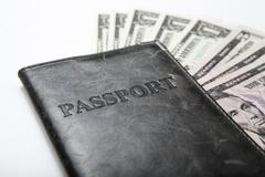 traveling abroad with money - stock photo