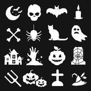 Halloween vector icons set - stock illustration