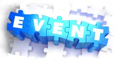 Event - White Word on Blue Puzzles - stock illustration
