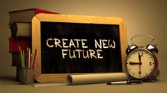 Create New Future - Inspirational Quote on Chalkboard - stock illustration