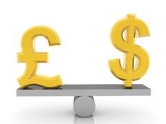 Stock Illustration of British Pound and USA Dollar signs on seesaw on white