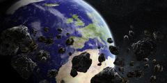 Meteorite impact on planet Earth in space - stock illustration