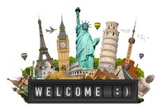 Monuments of the world on a airport billboard panel Stock Illustration