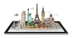 Stock Illustration of Monuments of the world on a tactile tablet