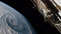 Hurricane view from international space station Stock Footage
