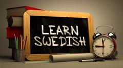 Learn Swedish - Chalkboard with Inspirational Quote - stock illustration