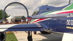 People look Frecce Tricolori plane in Rivolto, Italy Stock Footage