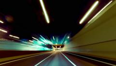 4K 30p Driving pov ultrawide futuristic highway timelapse night,speed Stock Footage
