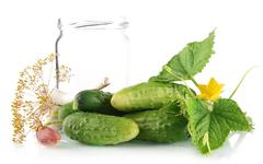 Many fresh raw cucumbers with flower bud,leaves,jar,garlic,dill flowers and t Stock Photos