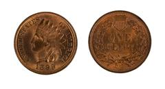 Highly graded American Indian Head cents on white background - stock photo