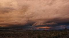 Thunderstorm Lightning Strike Desert Weather Cell Multiple Strikes Stock Footage