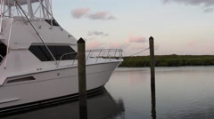 Boats in a Florida Keys marina at daybreak Stock Footage