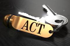 Act - Bunch of Keys with Text on Golden Keychain - stock illustration