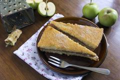 Two pieces of apple pie Stock Photos