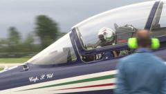 Frecce Tricolori pilot saluting during event Stock Footage