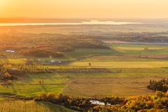 Panoramic view of Eardley Escarpment in the fall - stock photo