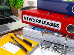 Red Ring Binder with Inscription News Releases - stock illustration