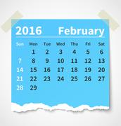 Calendar february 2016 colorful torn paper Stock Illustration