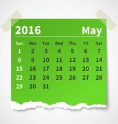 Calendar may 2016 colorful torn paper Stock Illustration