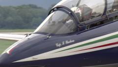Frecce Tricolori plane ready to take off in Rivolto, Italy Stock Footage