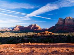 The view of Cathedral Rock in Sedona, Arizona. The towering rock formations s Stock Photos