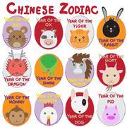 12 animal icon set,Chinese Zodiac animal , - stock illustration