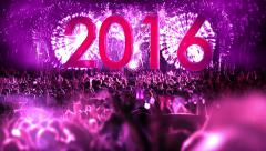 2016_crowd of people and fireworks explosions (Still Camera) PURPLE Stock Footage