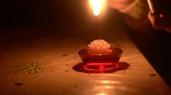 Fire up the candle on the table Stock Footage