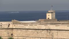 Historic walls in Civitavecchia port Stock Footage