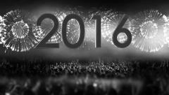 2016_crowd of people and fireworks explosions (Tilt camera) COLORLESS Stock Footage