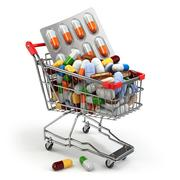 Pharmacy medicine concept. Shopping cart with pills and capsules. - stock illustration