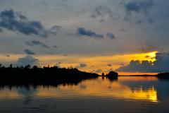 Romantic twilight. Pongoma lake. Karelia, Russia Stock Photos