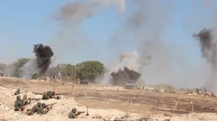 Battlefield. Military action in real time Stock Footage