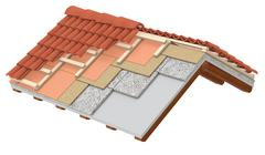 Stock Illustration of thermal insulation of a roof