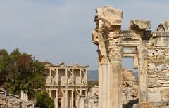Temple of Hadrian and Library of Celsus in Ephesus, Turkey Stock Photos