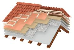 thermal insulation of a roof - stock illustration