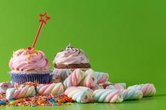 Many sweets with copytext - stock photo