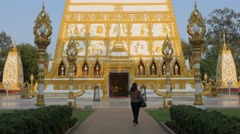 Woman photographing Nong Bua temple,Ubon Ratchathani,Thailand Stock Footage