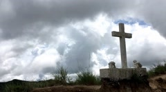 Timelapse of Clouds Passing Over Gravestone Cross Stock Footage