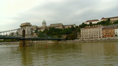 Budapest, Hungary - Sailing along Danube at the Chain Bridge Stock Footage