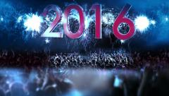 2016_crowd of people and fireworks explosions (Tilt camera) BLUE Stock Footage