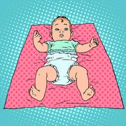 Surprised baby in diaper - stock illustration