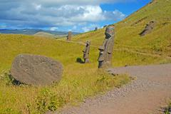 Moai stone statues on Easter Island, Chile Stock Photos