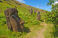 Moai stone statues on Easter Island, Chile - stock photo