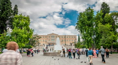 Athens - Syntagma square with Parliament building in the background Stock Footage