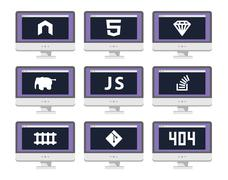 Vector software coding icon set - programming languages, technologies - stock illustration