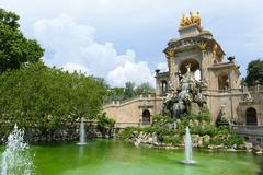 Water Fountain by Antoni Gaudi in Park Guell, Barcelona, Spain - stock photo