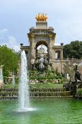 Stock Photo of Water Fountain by Antoni Gaudi in Park Guell, Barcelona, Spain