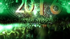 2016_crowd of people and fireworks explosions (Tilt camera) GREEN Stock Footage