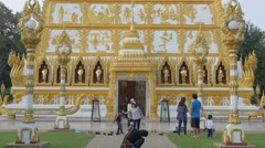 People photographing with Nong Bua temple,Ubon Ratchathani,Thailand Stock Footage